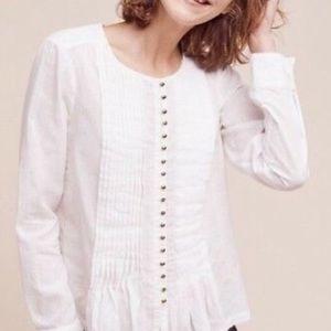 Anthropologie Maeve White Cotton pintucked blouse